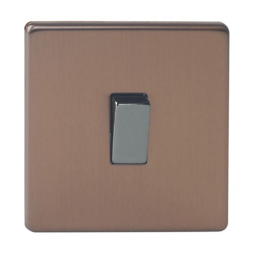 Varilight XDY7S.BZ Screwless Brushed Bronze 1 Gang 10A Intermediate Rocker Light Switch
